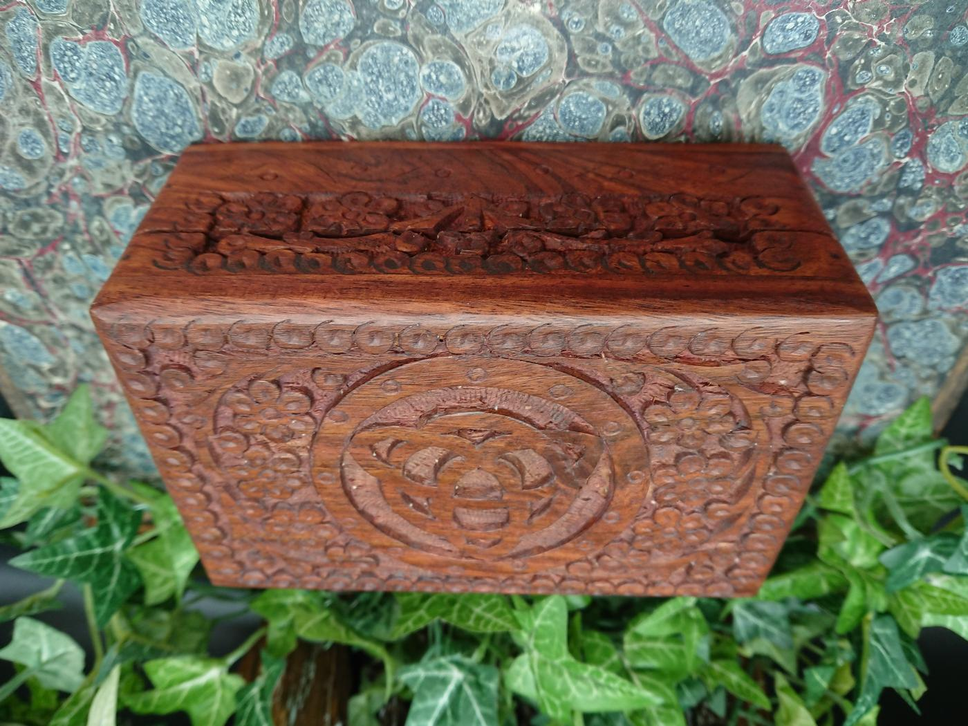 Wooden Hand carved Triquetra Box