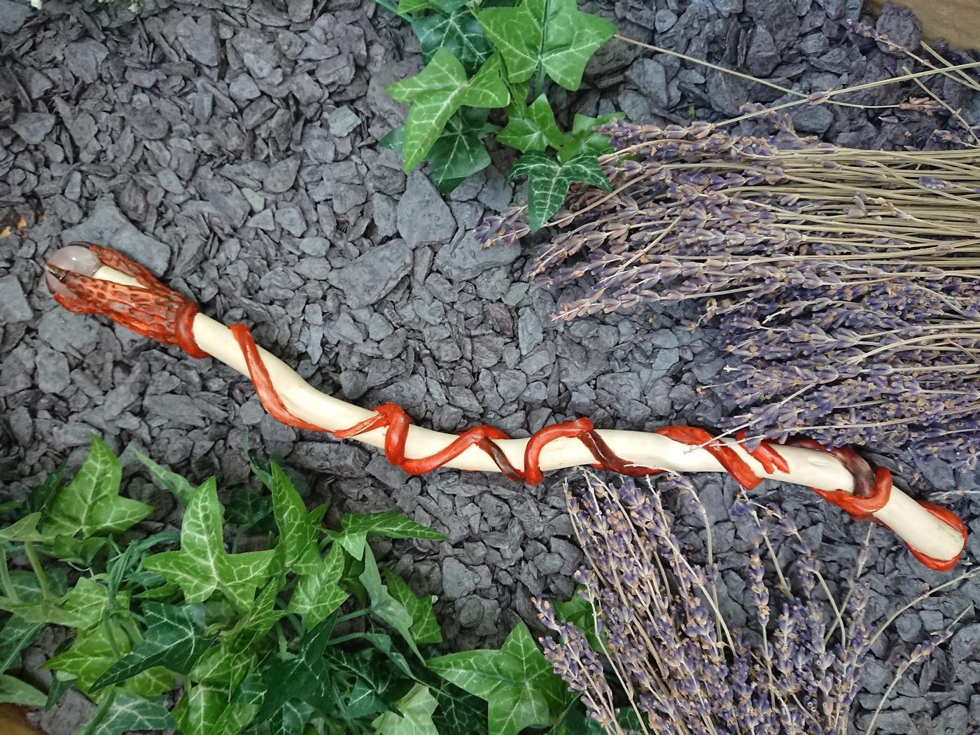 Rose Quartz Dragon's Claw Wand