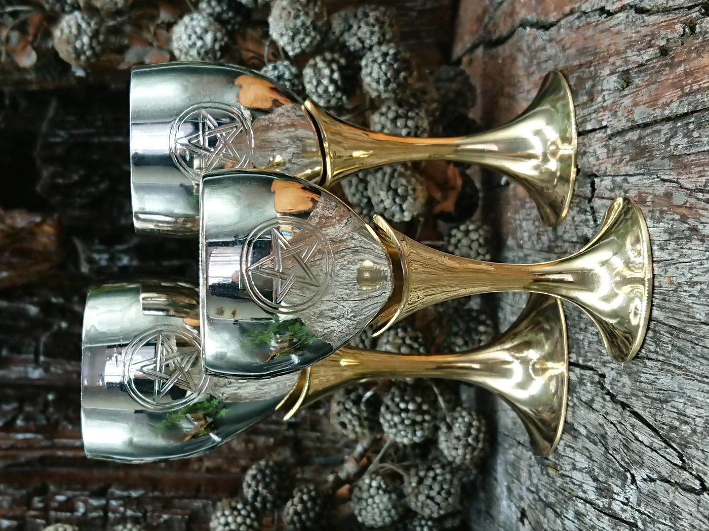 Silver Plated Pentagram Goblets