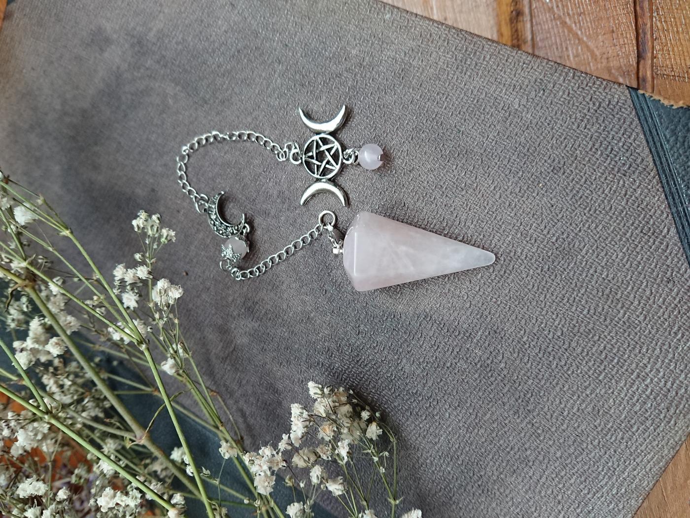 Triple Moon Rose Quartz Pendulum