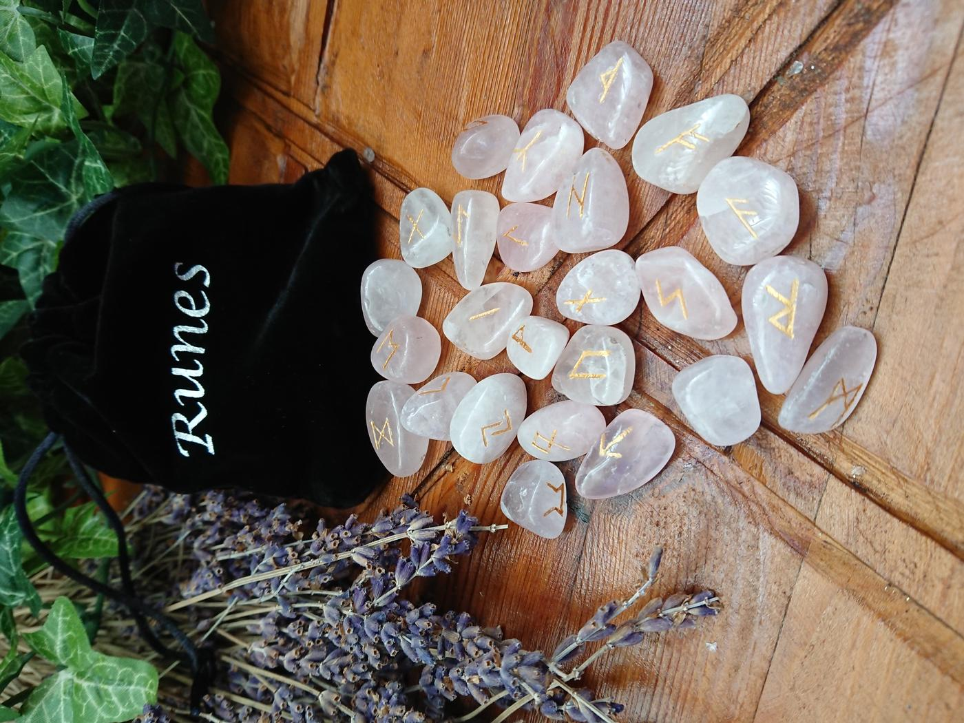 Rose Quartz Crystal Rune Set