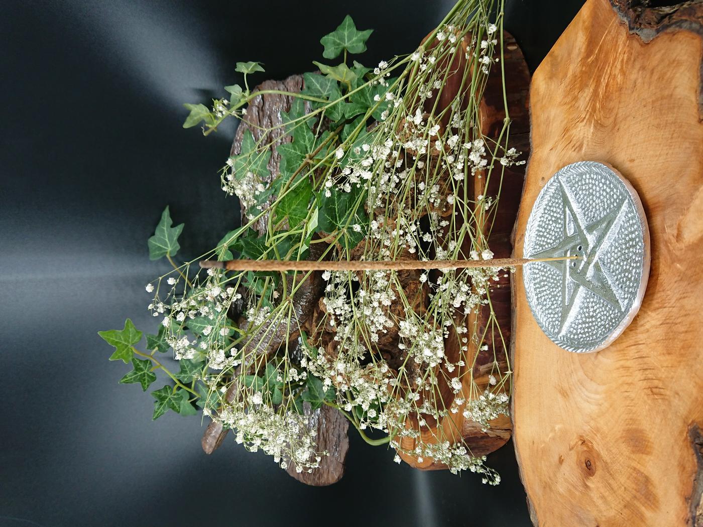 Silver-toned Pentagram incense holder
