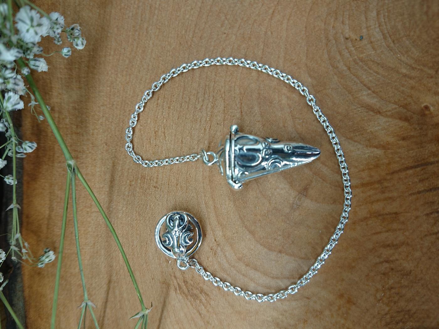 Sterling Silver Goddess dowsing Pendulum