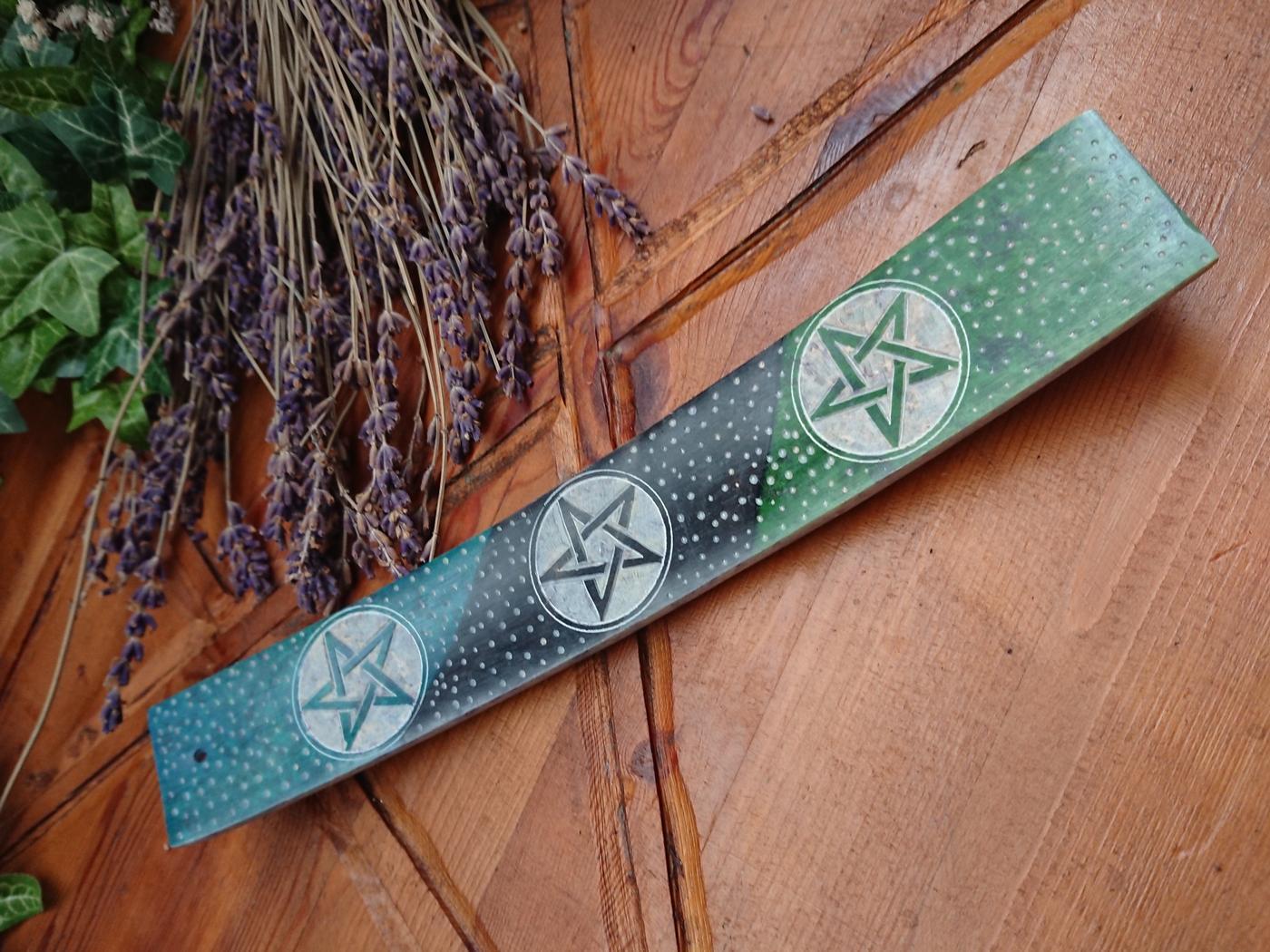 Pentagram soapstone incense holder