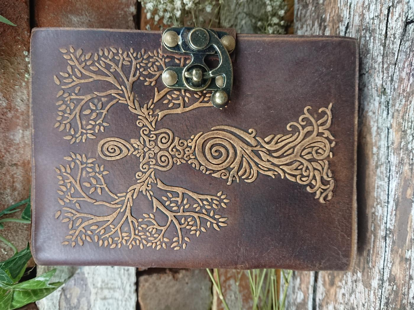 Tree woman leather journal