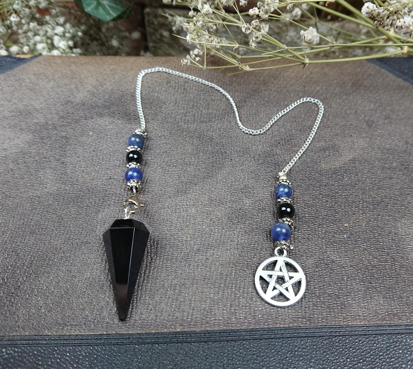 Black Obsidian Pentagram Pendulum