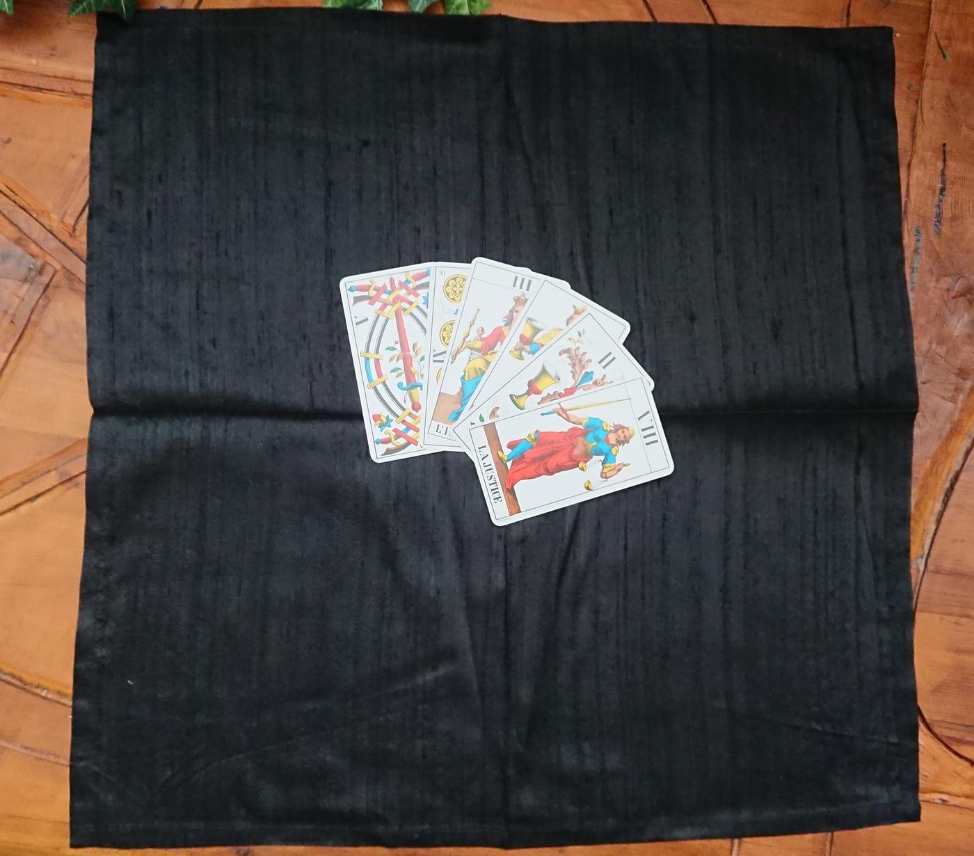 Black Silk Tarot Card Cloth