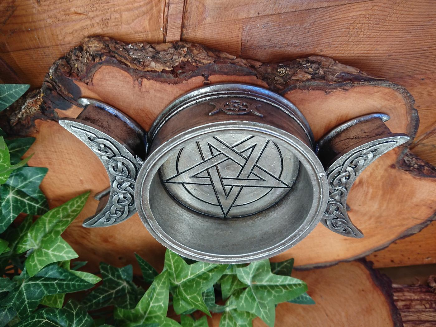 Triple Moon Altar Dish / Candle Holder