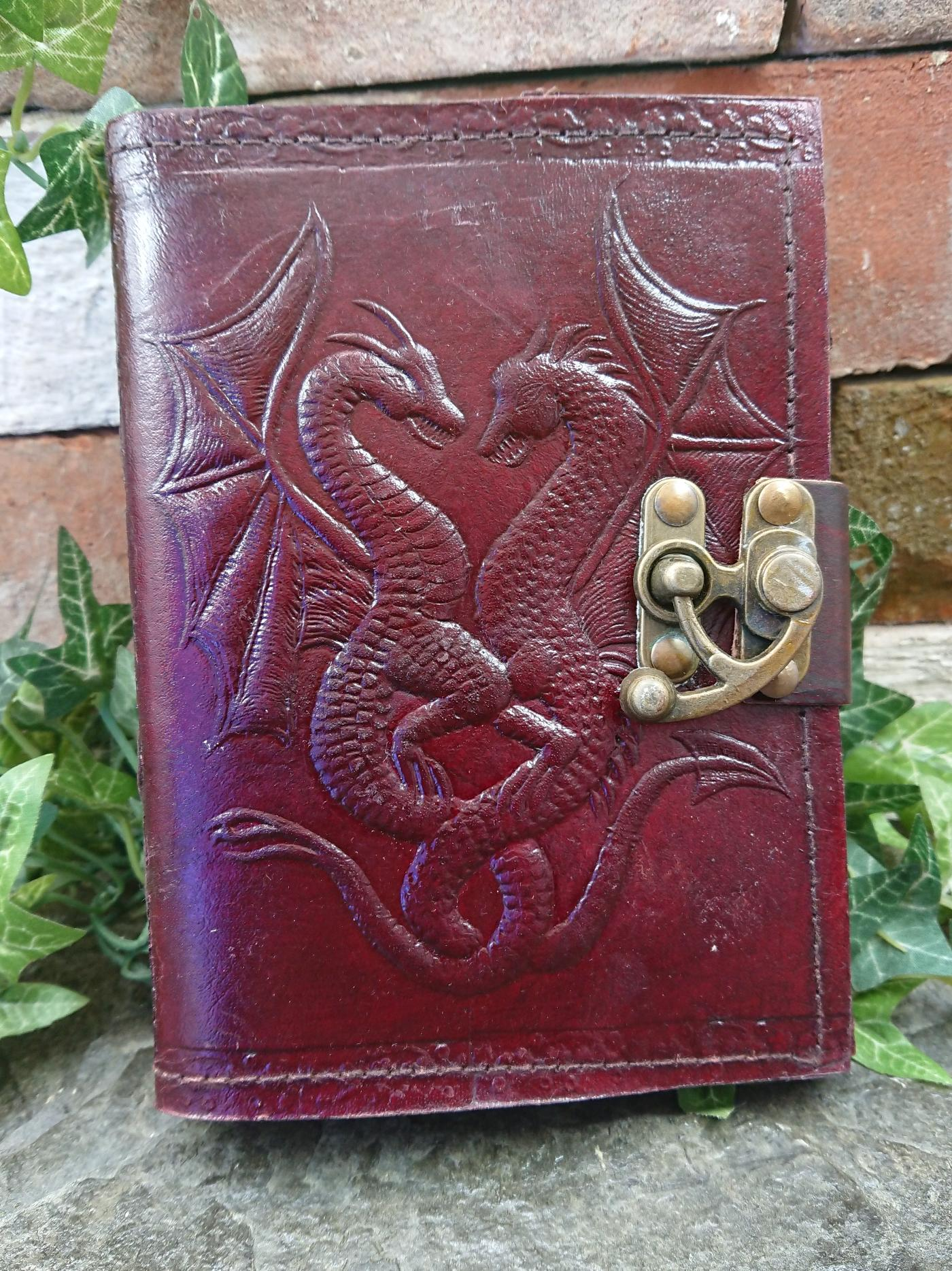 Double Dragon Embossed Leather Journal