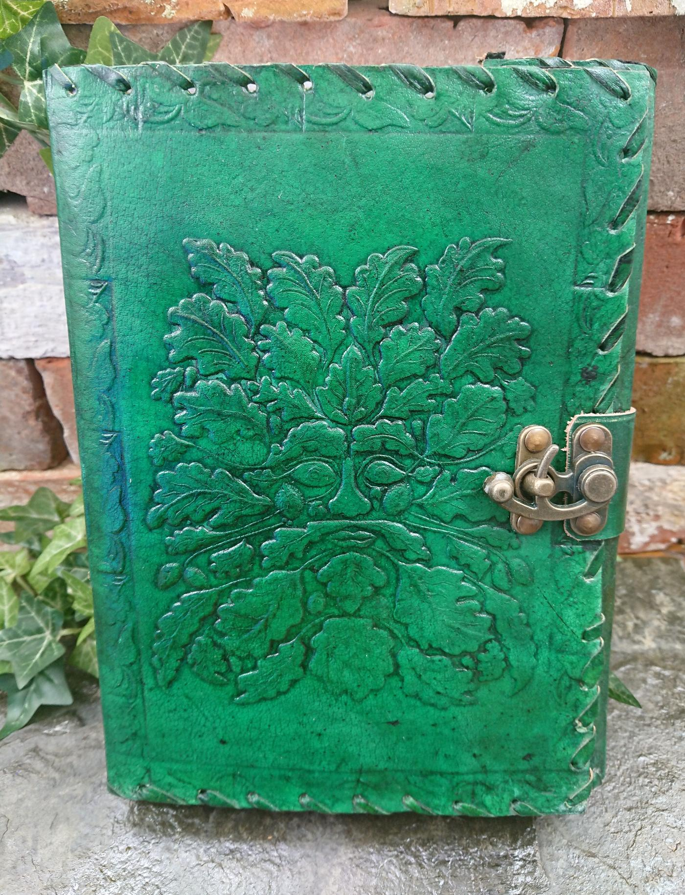 Large Green man leather Journal