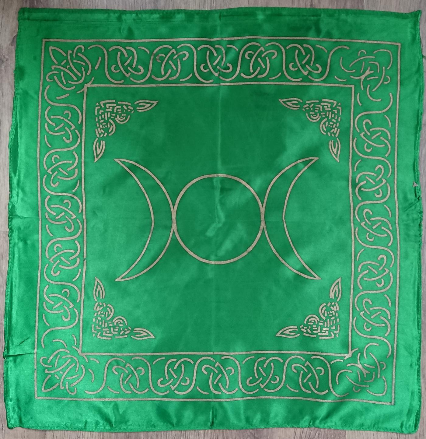 Green Triple Moon Altar cloth