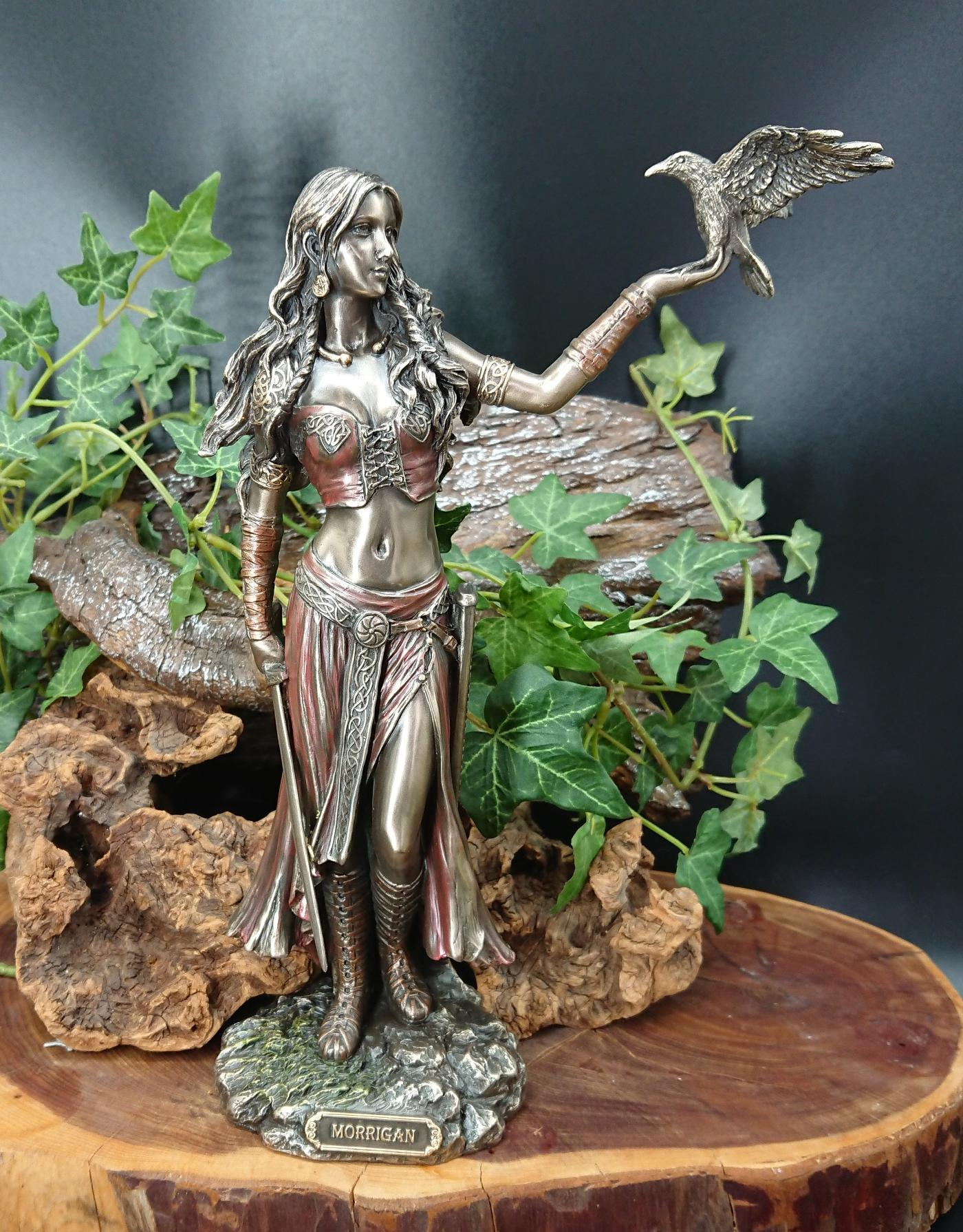Morrigan and Crow Figurine
