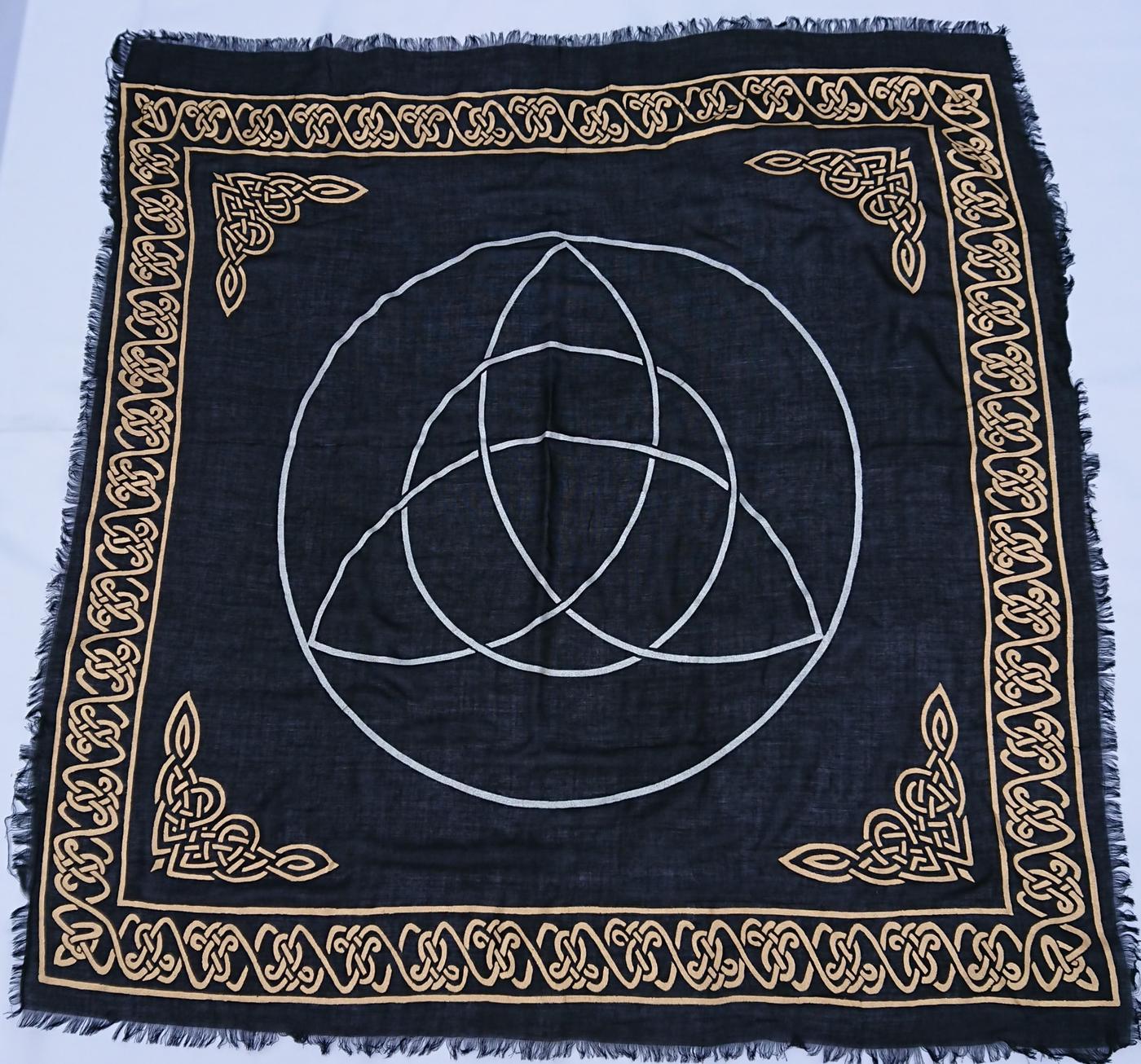 Black - Gold Triquetra Altar Cloth 36- x 36