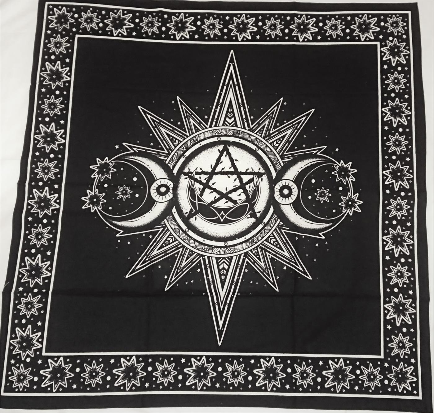 Black - White Triple Moon Altar Cloth