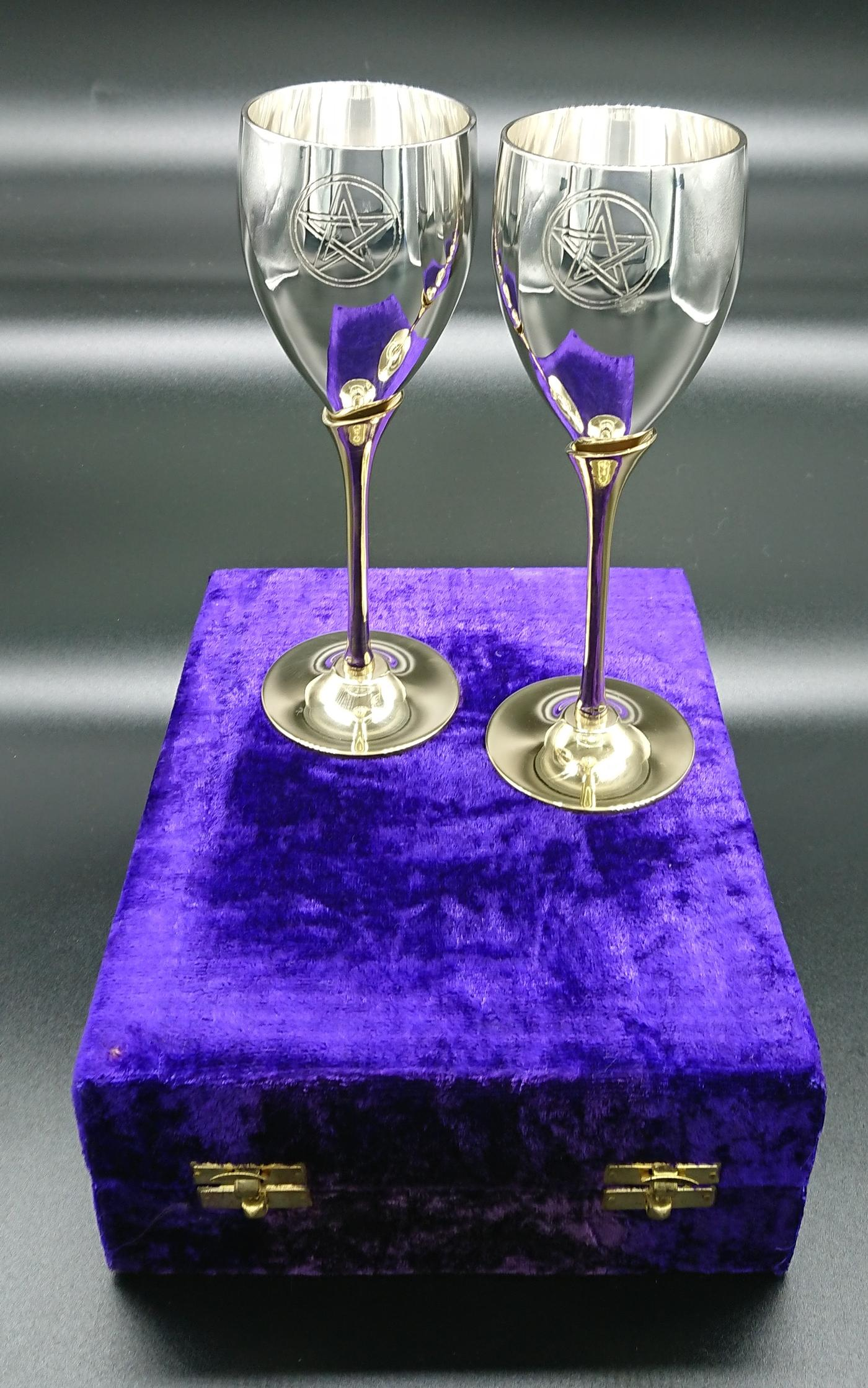 Large pair of Pentagram Chalices in a gift box