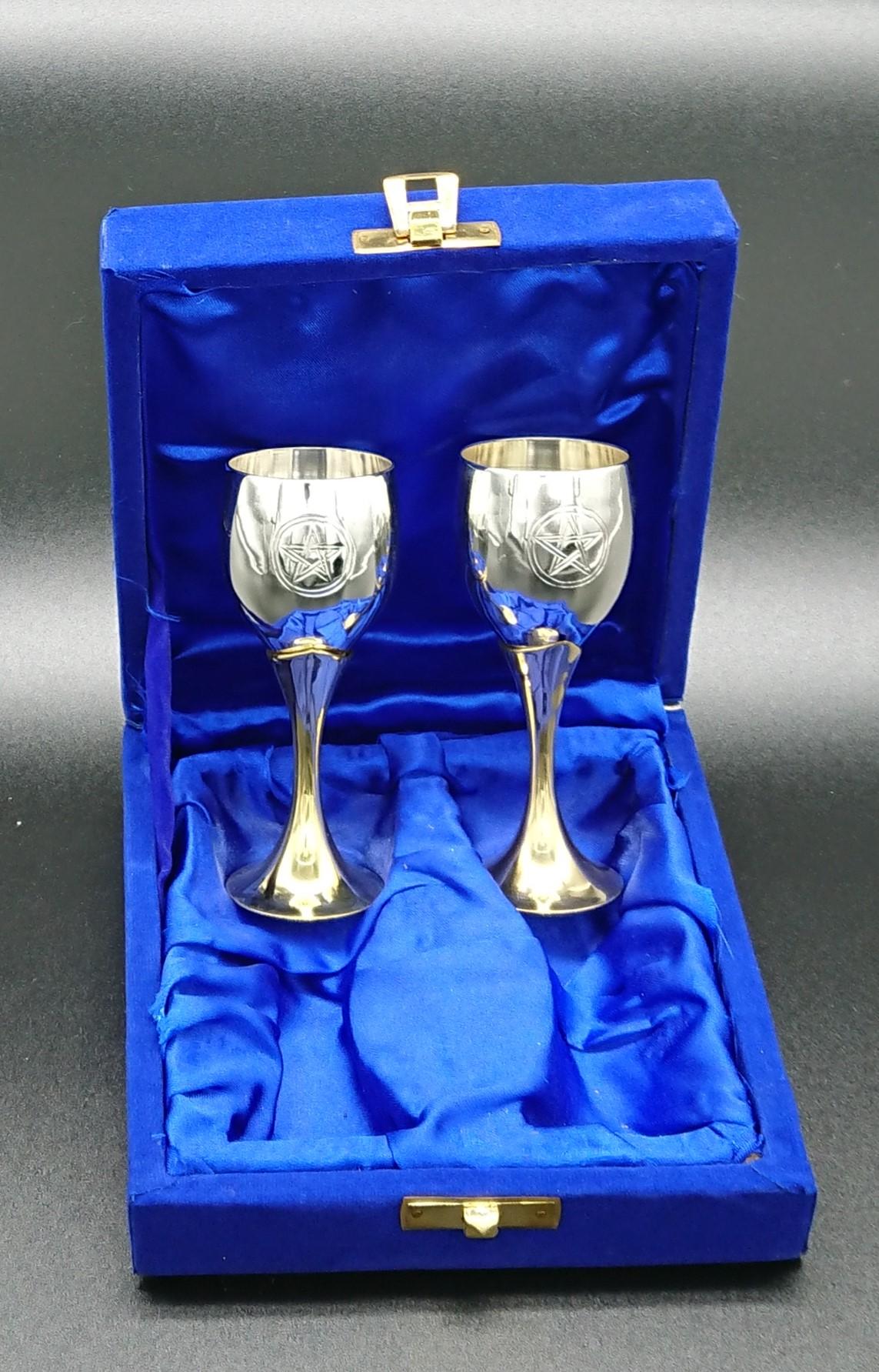 Pair of 10 cm silver plated Pentagram Goblets