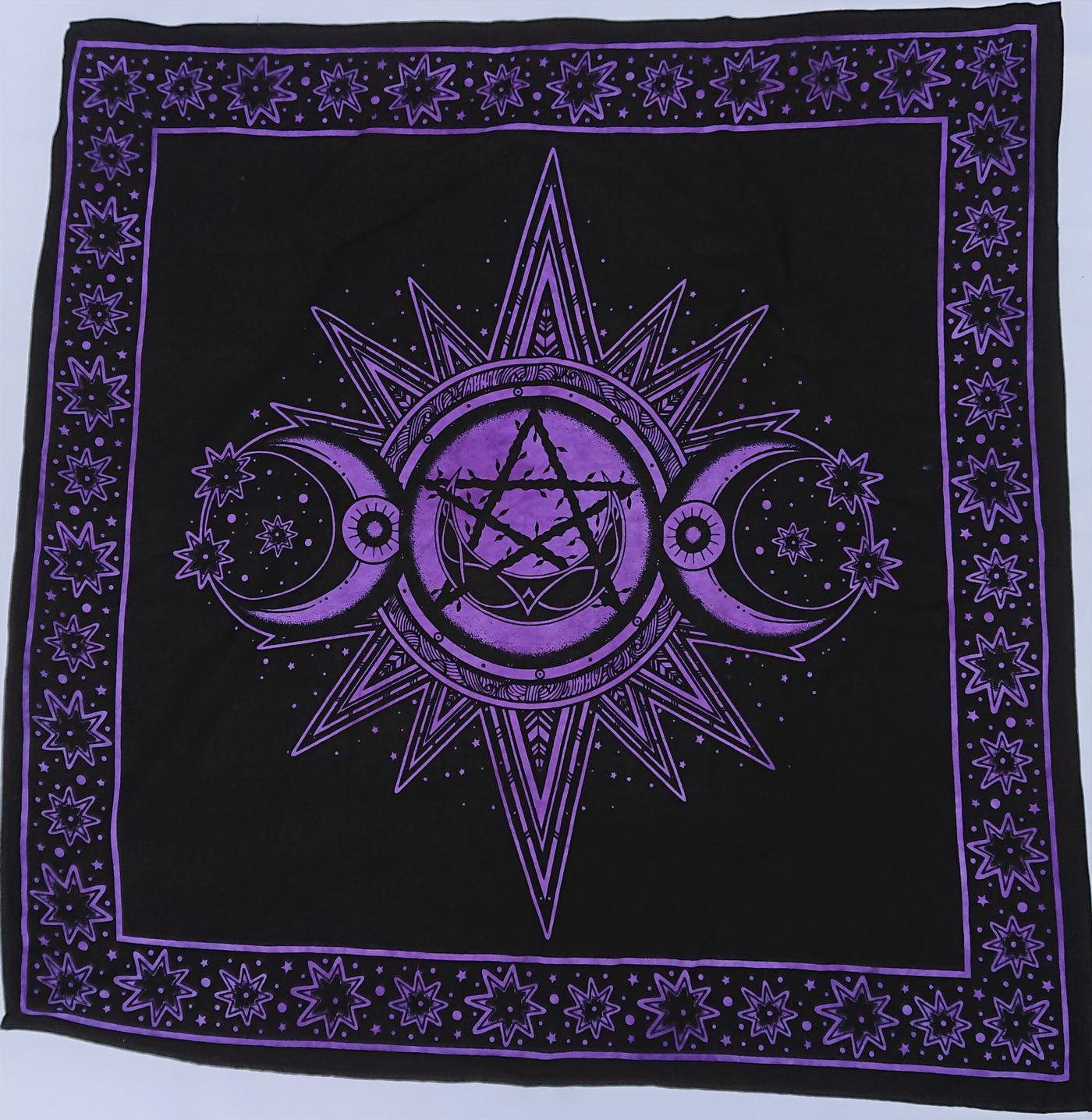 Purple - Black Triple Moon Altar Cloth