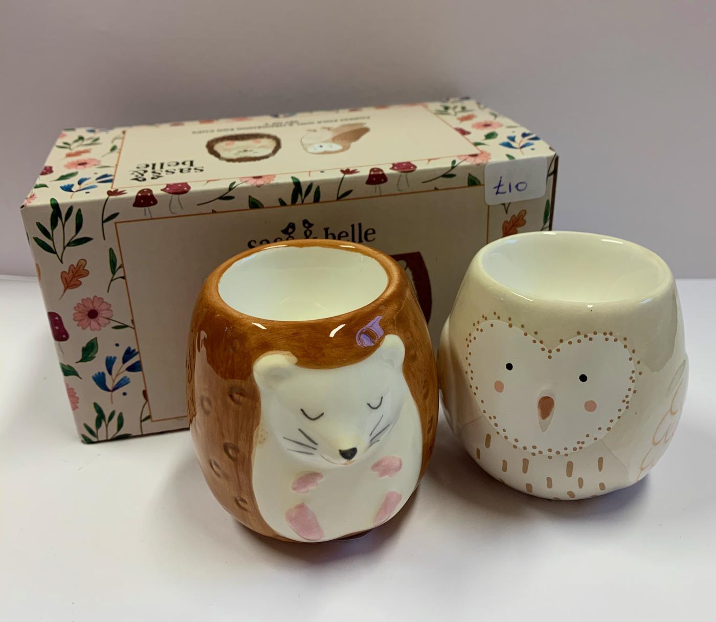 Sass and Belle Forest Folk Owl - Hedgehog Egg Cup Set
