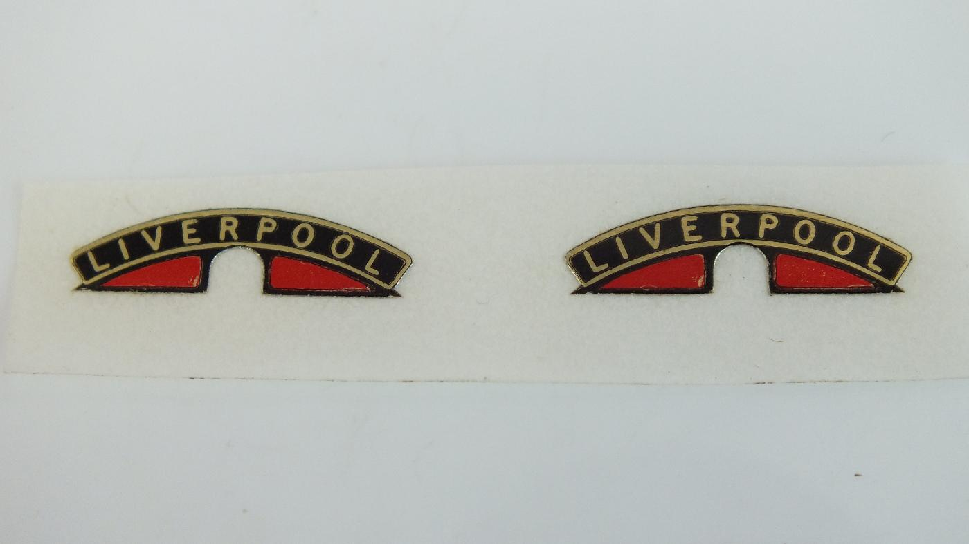 MS83 HORNBY TRINAG B17 FOOTBALLER NAME PLATE LIVERPOOLE