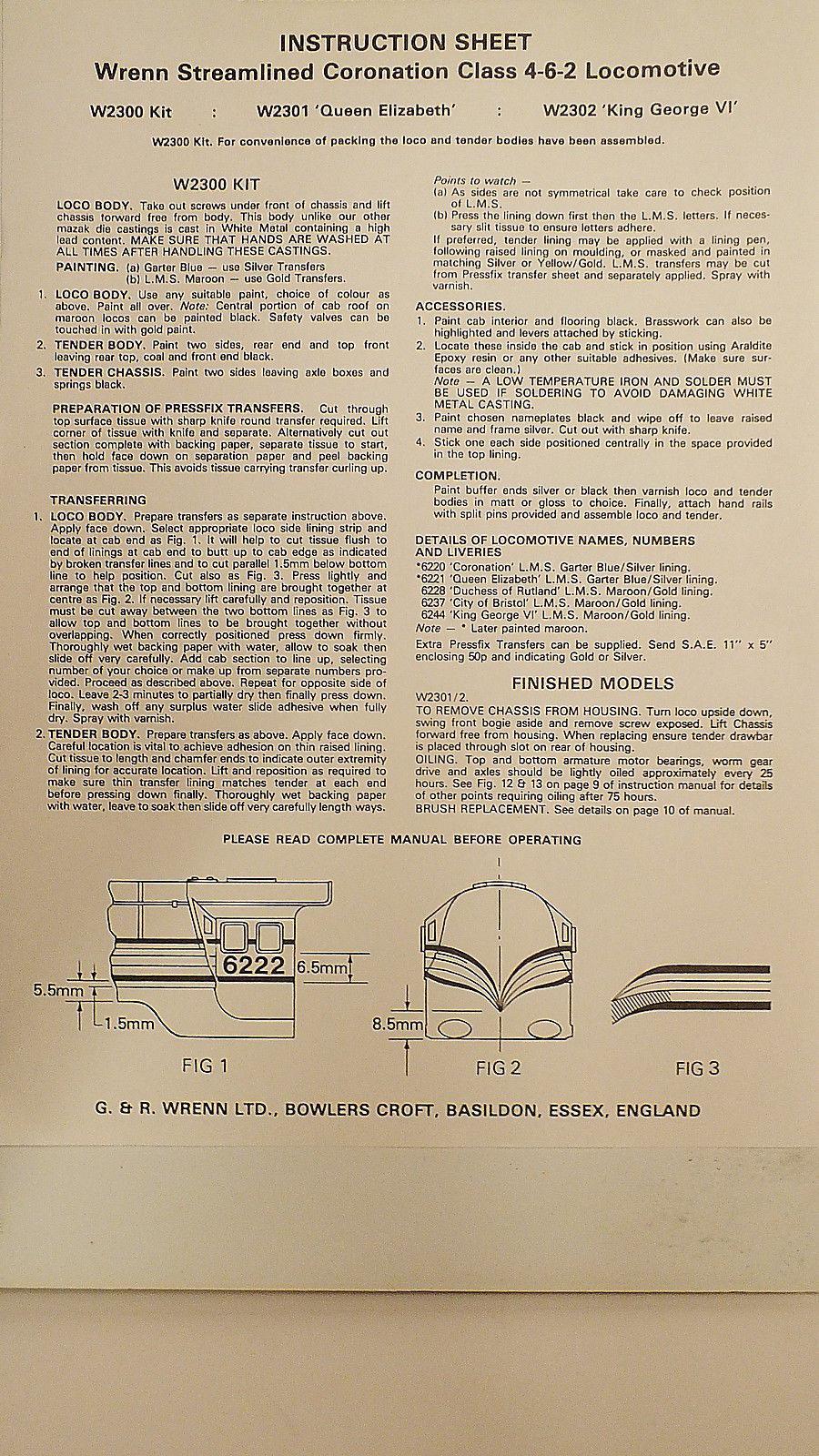 MS116 WRENN DUBLO INSTRUCTION LEAFLET ORIGINAL STREAMLINE CORONATION  TOM