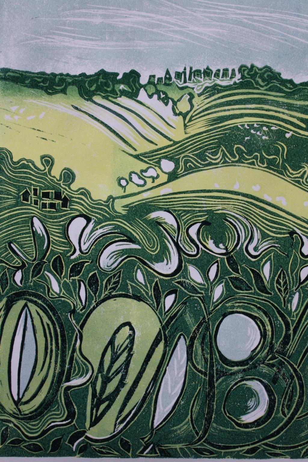 Landscape lino print