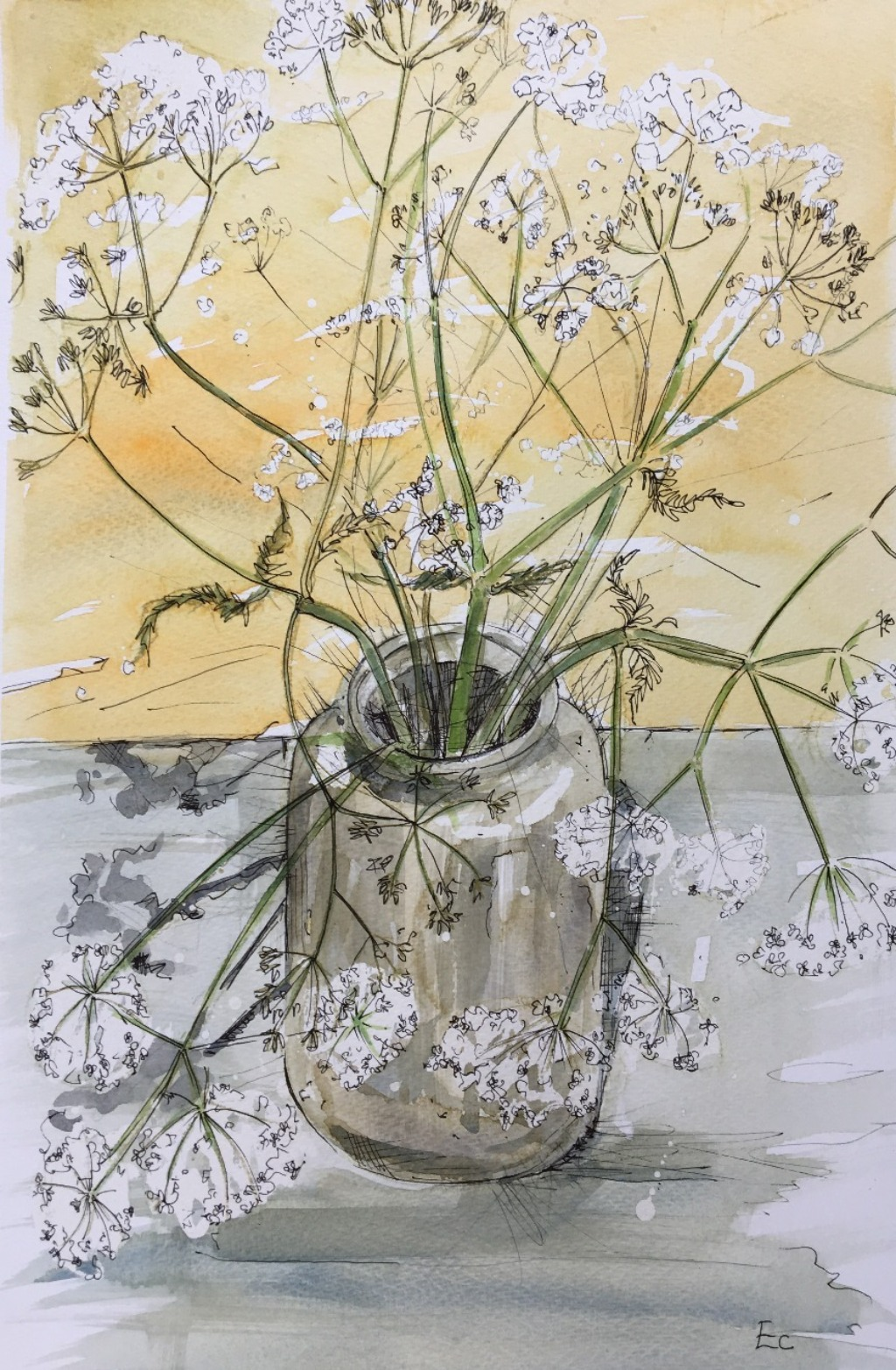 Cow parsley in Clay jug