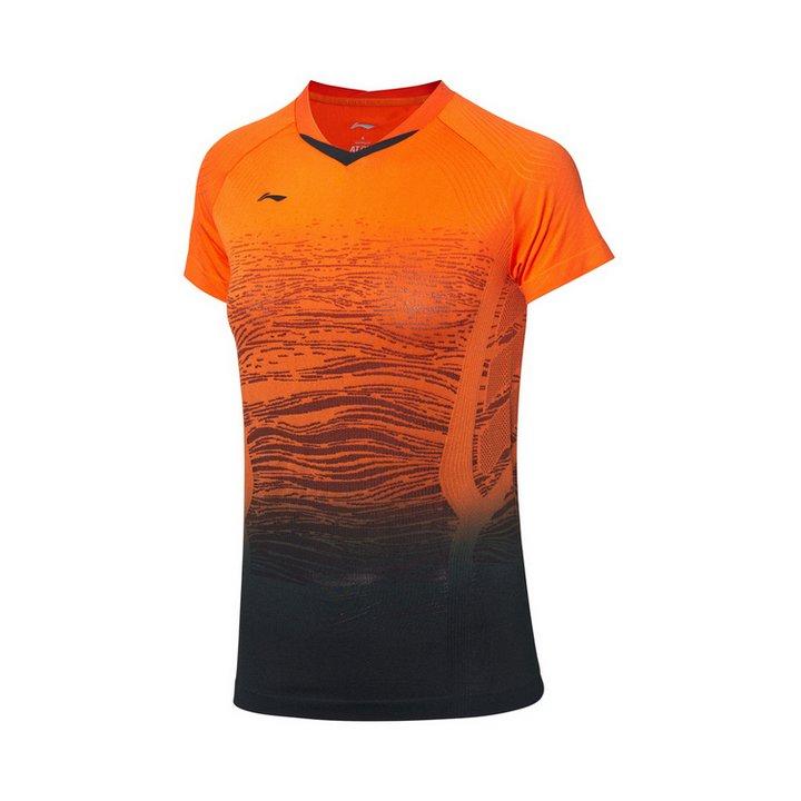 Li Ning Badminton T-Shirt Ladies Orange - Black