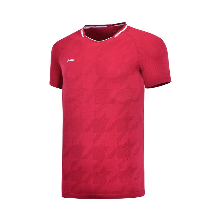 Li Ning Badminton T-Shirt Men-s Red