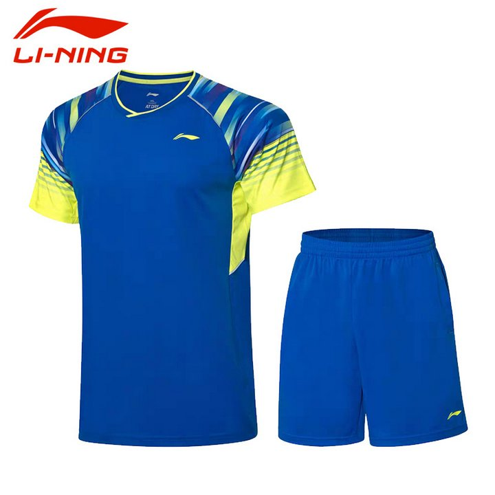 Li Ning Badminton T-Shirt - Shorts Set Men-s Blue