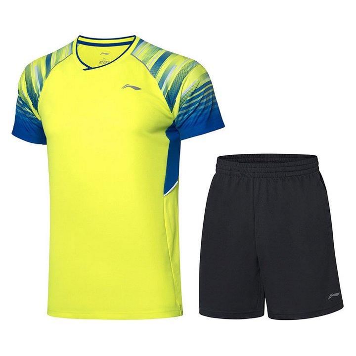 Li Ning Badminton T-Shirt - Shorts Set Men-s Fluro Bright Green