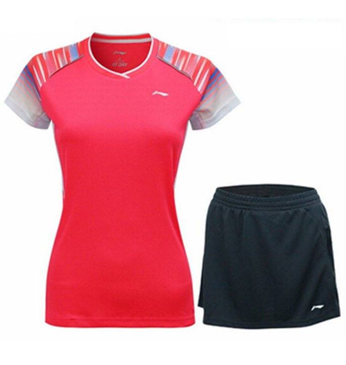 Li Ning Badminton T-Shirt - Skorts Ladies Fluro Flame Red - Black