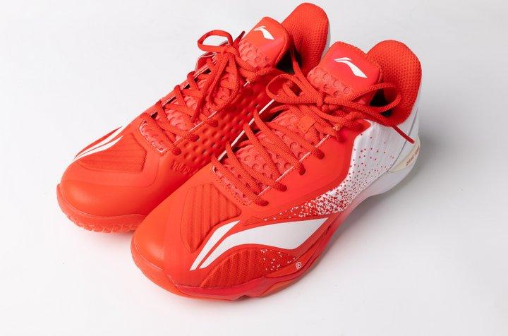 Li Ning Mens Professional Badminton Shoes - Red - White