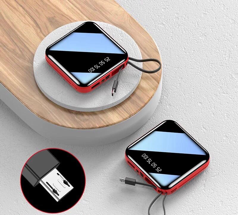 Mini Power Bank Large Capacity Full Screen Mirror in Black 10000 mAh with built-in Flashlight