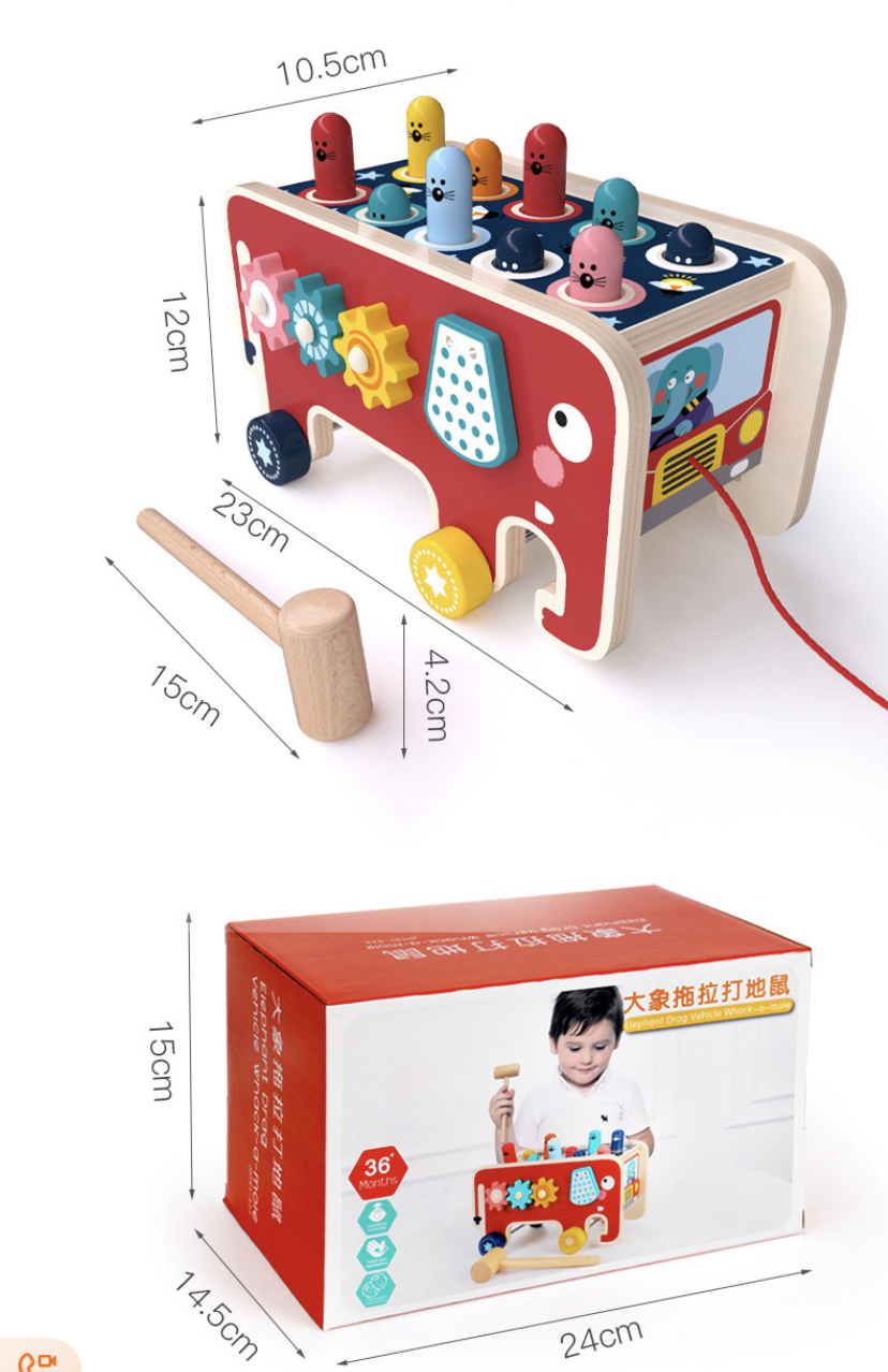 Eco-friendly children's wooden elephant drag-along toy happy hammer percussion