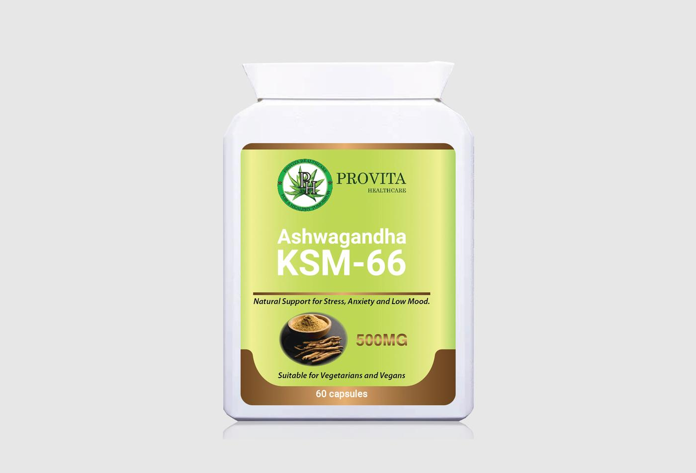 Ashwagandha KSM-66 500mg is a medicinal herb that may offer several health benefits such as improved blood sugar, reduce inflammation, mood, memory, stress and anxiety, as well as a boost in muscle strength and fertility.