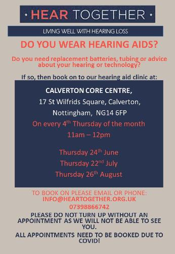 H2H clinics return Our H2H community clinics are set to re-start around Nottinghamshire