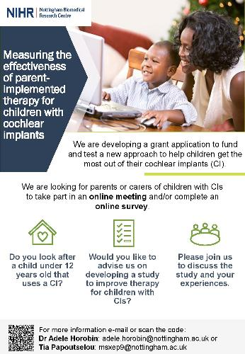Does your child wear a CI? NIHR are looking for parents and carers of children with a Cochlear Implant