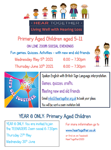 Primary Summer Zoom Socials 2021 Join on line with aged 5-11s children with hearing loss
