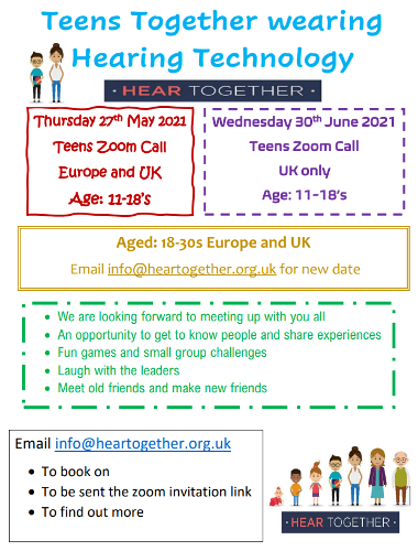 UK and Europe Teens Zoom Social Aged 11-14, wearing hearing technology? Come and join our 2nd Europe + UK zoom call .  Time to chat in small groups and get to know new friends.  Games and activities to have fun together