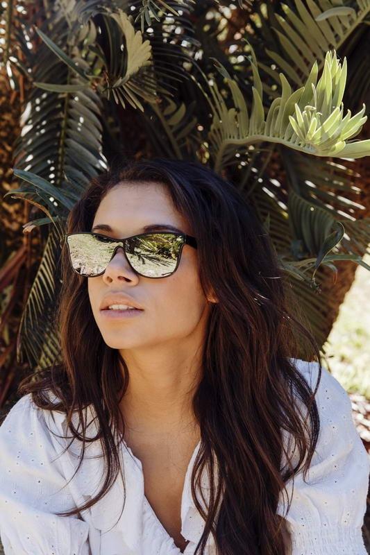 Womens black framed mirrored sunglasses