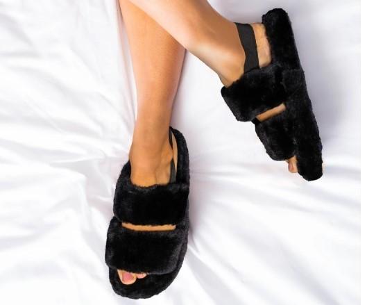 Womens black two band elasticated mule slipper