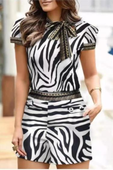 Womens black and white short set