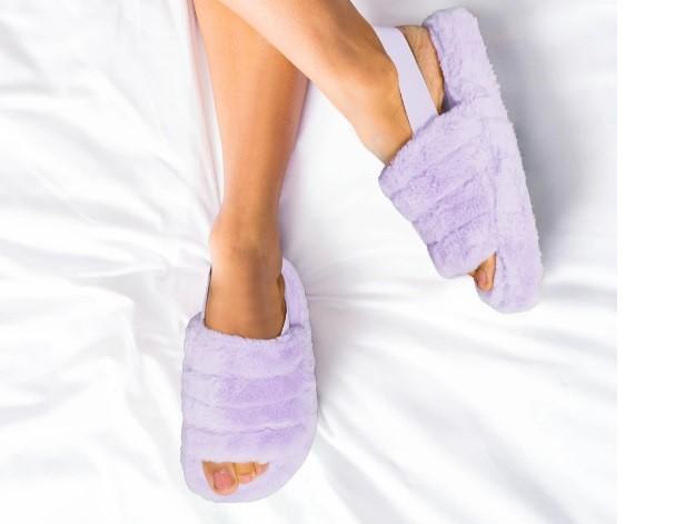 Womens elasticated lilac mule slipper