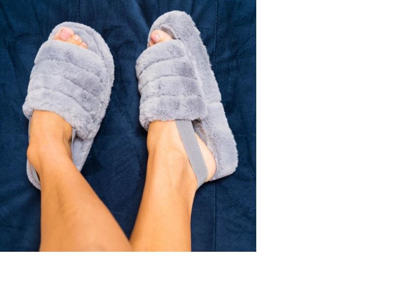 Womens Grey Elasticated Mule Slipper