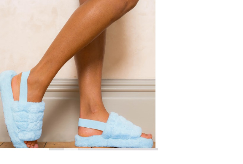 Womens Blue Elasticated Mule Slipper