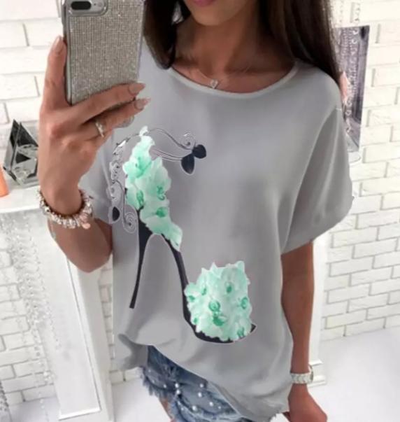 Womens high heeled print T shirt