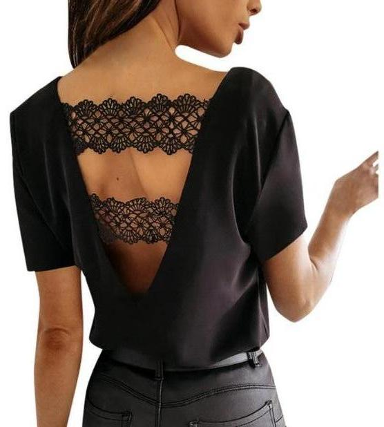 Womens lace back cut out top