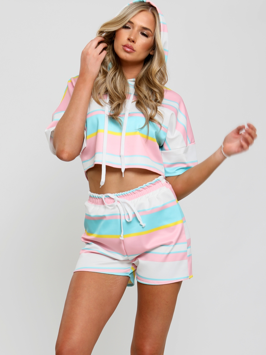 Womens striped hooded top and shorts loungewear set