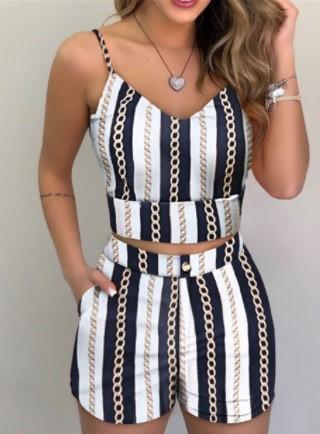 Womens striped spaghetti strap shorts set