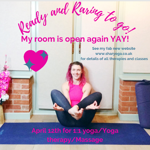 Re-Opening My Yoga Room - Hoooorraahhhh!!! I am happy to say that my home yoga room in Evesham, Worcestershire is re-opening from Monday 12th April!!
